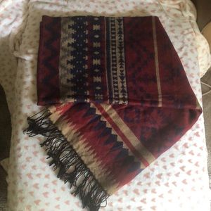 Accessories - Burgundy and navy fringe Aztec blanket scarf